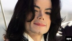 U.S. -- A file picture dated 29 April 2005 of Michael Jackson arriving in the court in Santa Maria, 29Apr2005
