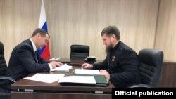 Rusiyanın Baş naziri Dmitry Medvedev və Çeçenistanın başçısı Ramzan Kadyrov, 23 noyabr, 2019-cu il