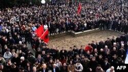 Pamje nga një protestë e shqiptarëve në Bujanoc kundër qeverisë së Serbisë