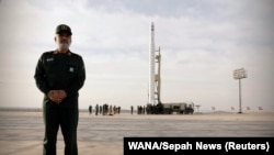 Amirali Hajizadeh, head of the aerospace division of the Revolutionary Guards, stands before the launch of the first military satellite named Noor into orbit by Iran's Revolutionary Guards Corps, in Semnan, Iran April 22, 2020.
