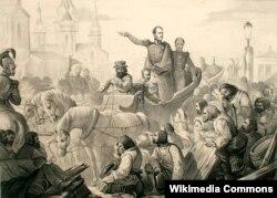 Николай I усмиряет холерный бунт на Сенной площади Петербурга в 1831 году. Неизвеcтный художник.