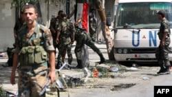 Солдаты правительственных войск в районе Мидан, Дамаск.
