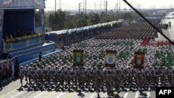 Iranian soldiers march during the annual military parade marking the anniversary of the start of Iran's 1980-1988 war with Iraq.