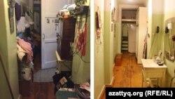 Прихожая в квартире пожилой женщины до (слева) и после (справа) уборки. Алматы.