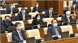Kazakhstan – deputies of the Mazhilis of the Kazakh Parliament in plenary meeting. Nur-Sultan, 06May2020 TV screen shot