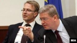 Еврокомесарот Штефан Фуле се обрати на Националниот совет за евроинтеграции во Собранието на Македонија.