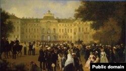 Прием лейб-гвардии в Константиновском дворце. Неизвсетный художник, XIX век
