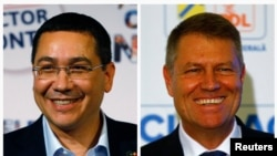 Romanian Prime Minister Victor Ponta (left) and President Klaus Iohannis
