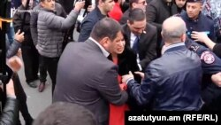 Armenia - Naira Zohrabian, a member of the Prosperous Armenia Party, was injured during a protest, 14 March, 2019