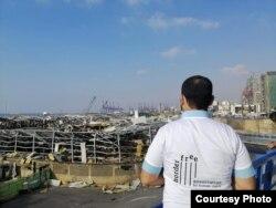 Volonter iz Vanjine organizacije BorderFree nakon eksplozije u Bejrutu.