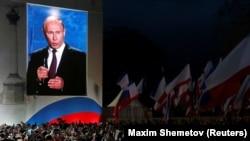 Президент Росії Володимир Путін виступає під час концерту, присвяченого четвертим роковинам анексії Криму. Севастополь, 14 березня 2018 року