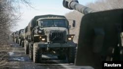 Tehnică militară a separatiştilor în apropiere de Doneţk, 24 februarie 2015