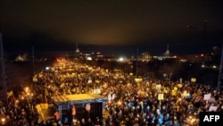 Thousands of demonstrators gather in front of the Bella Center, the venue of the UN climate change conference, in Copenhagen.