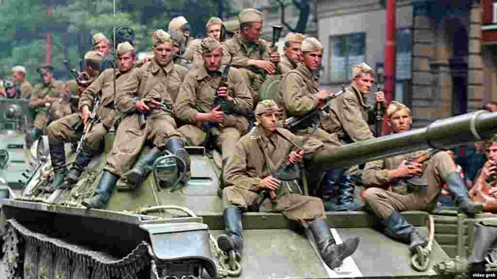 "According to Hajsky, the Soviet troops were taken aback at the local reaction to their arrival in Prague. ""They'd more or less come here on a little break,"" he says, adding that the way they were riding around on their tanks was more reminiscent of a World War II Victory Day parade than an invasion."