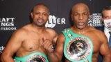 Nov 28, 2020; Los Angeles, CA, USA; Mike Tyson (black trunks) fights Roy Jones, Jr. (white trunks)