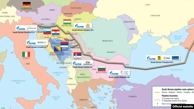 The planned route for Gazprom's South Stream pipeline (click to enlarge)