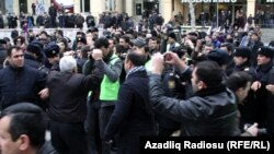 Opposition protesters today in downtown Baku