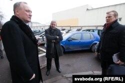 Уладзімер Някляеў, Аляксандар Мілінкевіч і Віталь Рымашэўскі перад сустрэчай