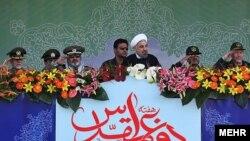 سخنرانی حسن روحانی در جریان رژه نظامی به مناسبت سی و سومین سالگرد جنگ هشت ساله ایران و عراق صورت گرفت.