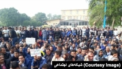 Iranian workers in Shush protesting during weeks-long strike for unpaid wages. November 2018