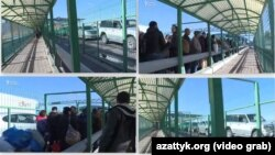 На кадрах из видео — очередь на пункте пропуска на границе казахстанско-кыргызстанской границе.