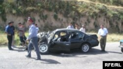 Tajikistan -- A broken car after an accident in Dushanbe, 2005