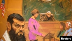 A courtroom sketch shows Abid Naseer (L) listening to the verdict being read by courtroom deputy Ellen Mulqueen (C) during his federal trial in Brooklyn, New York on March 4.