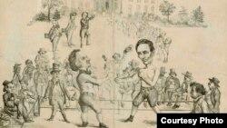 Карикатура 1860 года, изображающая поединок Дугласа и Линкольна за Белый Дом.