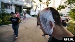 Один з поранених активістів на Святошинському провулку