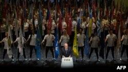 Президент ФІФА Зепп Блаттер виголошує промову на відкритті конгресу ФІФА, Цюріх, Швейцарія, 28 травня 2015 року