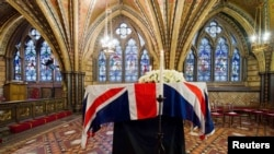 The coffin of former British Prime Minister Margaret Thatcher in the Crypt Chapel of St. Mary Undercroft.