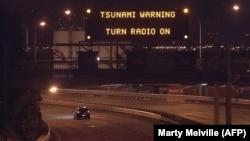 Предупреждение об угрозе цунами в Веллингтоне, Новая Зеландия, 14 ноября 2016 года.