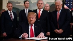 U.S. President U.S. President Donald Trump signed a proclamation officially recognizing the Golan Heights as Israeli territory on March 25.