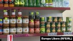 Rafturi într-un magazin de la Tiraspol