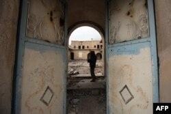 Një manastir në Mosul të Irakut, të cilin IS-i e shkatërroi më 2015.