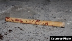 "The blood-stained stick used in the beating of Argishti Kiviryan, editor of ""Armenia Today"", Yerevan. Photo courtesy Gagik Shamshian."