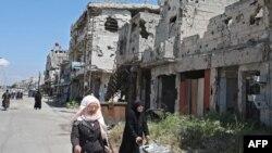 Ndërtesa të shkatërruara nga konflikti në Siri.