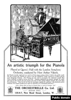 Реклама механического пианино, 1912