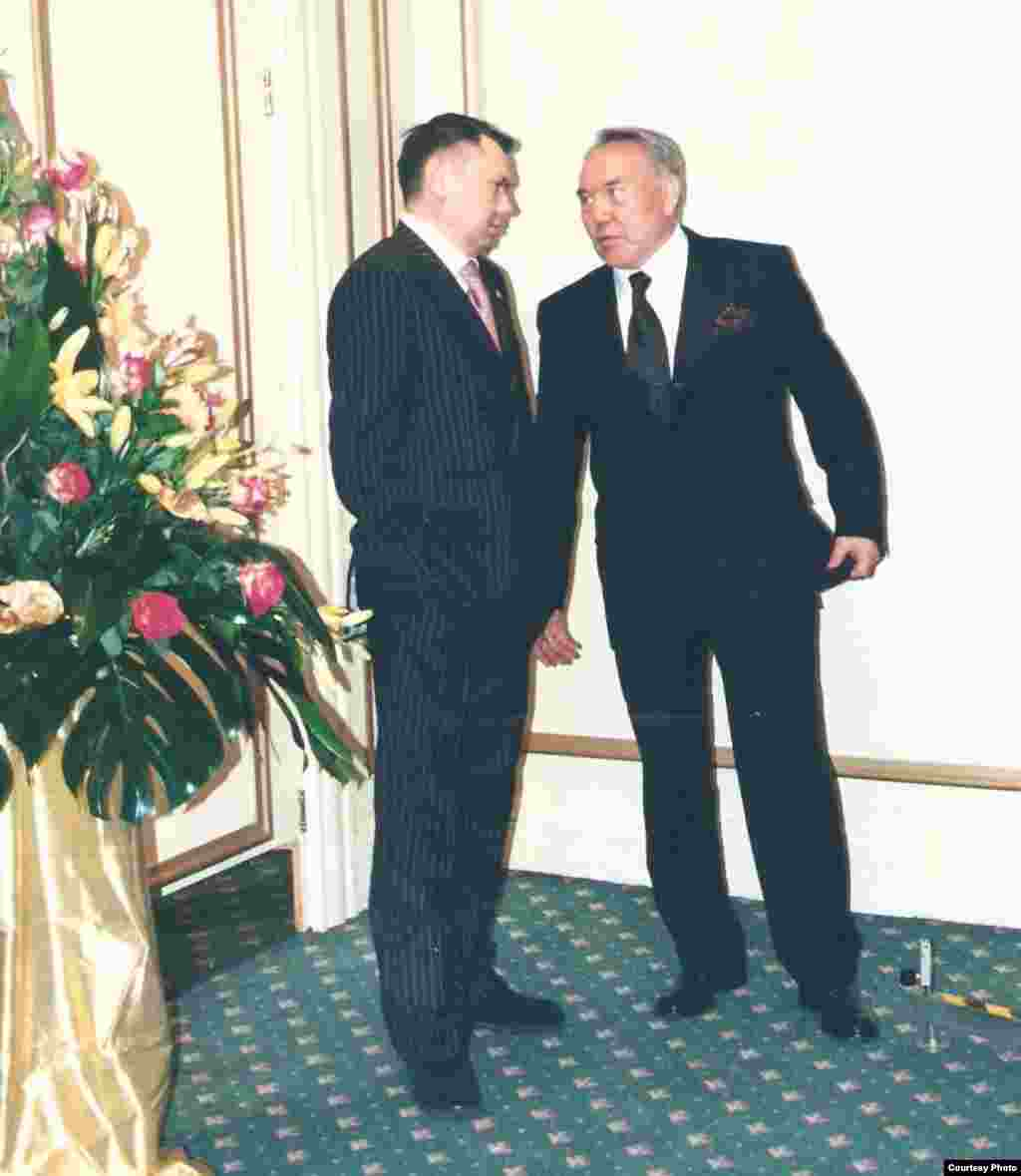 Aliev and his father-in-law in 2001. In June 2014, Aliev was arrested in Vienna. His lawyers said he had turned himself in. Austrian authorities charged him with involvement in the killings of two Kazakh bankers in 2007.