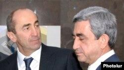 Նախագահ Սերժ Սարգսյան (աջից) և երկրորդ նախագահ Ռոբերտ Քոչարյան, արխիվ