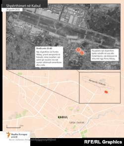 Lokacioni ku ndodhën shpërthimet në Kabul.