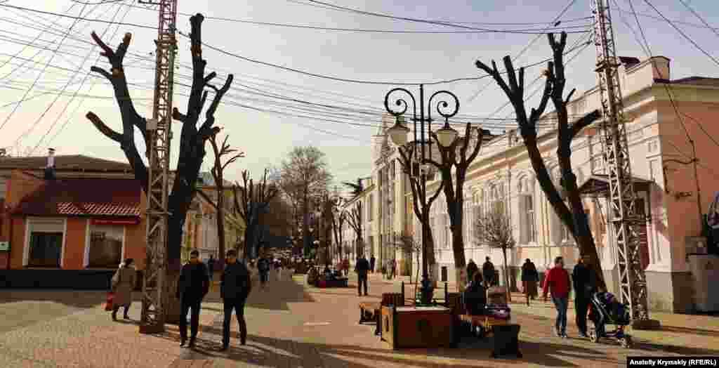 На улице Пушкина обрезку уже завершили