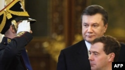 Ukrainian President Viktor Yanukovych with Russian President Dmitry Medvedev at the Kremlin in Moscow in early May