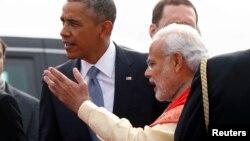 Президент США Барак Обама и премьер-министр Индии Нарендра Моди в Дели, 25 января 2015 г.