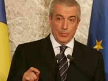 Italy - Romanian Prime Minister Calin Popescu Tariceanu speaks during a press conference with Italian Prime at Palazzo Chigi, Rome, 07Nov2007