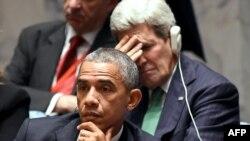 Президент США Барак Обама и госсекретарь Джон Керри на заседании Генеральной ассамблеи ООН