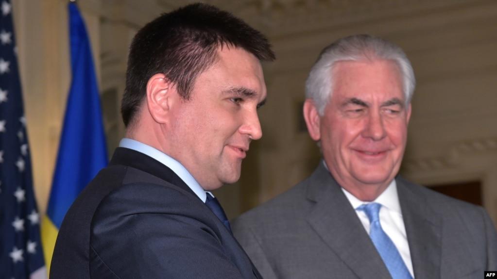 AB, dövlət katibi Rex Tillerson (sağda) Ukrayna xarici işlər naziri Pavlo Klimkini Dövlət Departamentində qəbul edib