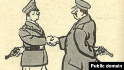 Карикатура: Сталин и Гитлер жмут друг другу руки