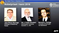 Лауреаты Нобелевской премии по химии Жан-Пьер Соваж (Франция), сэр Фрейзер Стоддарт (США) и Бернард Феринга (Нидерланды)