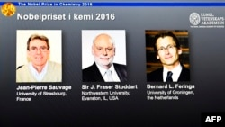 Лауреаты Нобелевской премии по химии 2016 года Жан-Пьер Соваж, Бернард Феринга и Фрезер Стоддарт.